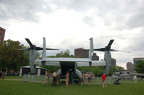 Marine Week Boston, 2010: Bell-Boeing MV-22B Osprey noticed from aft as it sits on Boston Common