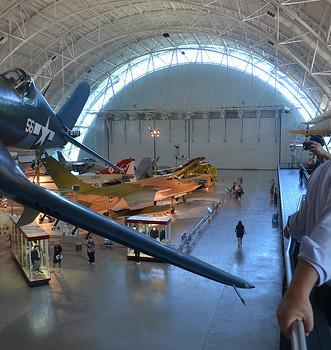 Steven F. Udvar-Hazy Center: major hall panorama (F-4 Corsair, et al)
