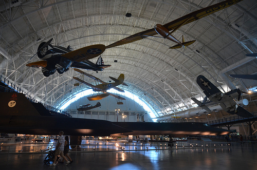 Steven F. Udvar-Hazy Center: Profile view of the SR-71 Blackbird, F-4 Corsair, Peashooter, among other individuals