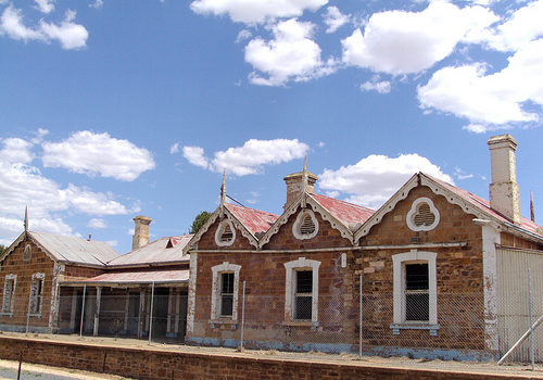 The once beautiful Eudunda Railway Station in South Australia. The line opened to here in 1878. It is now terribly vandalised. What a pity and a shame on the government. Love the gables and air vents.